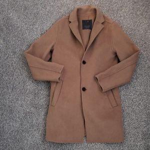 Zara Boys Camel Wool-blend Long Winter Coat